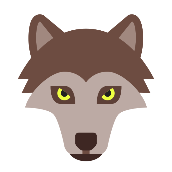 Wolf icon. It's an icon of a wolf head with its nose pointed towards the ground. The ears are pointed upwards and the smaller eyes are near the center of the head. The hair above the eyes form a widow's peak