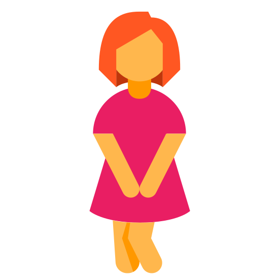 Urine icon. There is a woman in a dress who has her legs crossed and her hands placed over her waist area. It would appear she is trying to hold back her bladder at the moment.