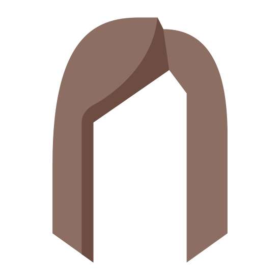 Woman's Hair icon. This icon features the silhouette of a woman's hair. The face is left out but the hair is included to let the onlooker know it is a woman's hair.