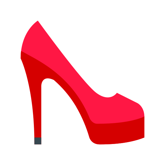 Women`s Shoe icon. A woman's shoe is represented with a closed toe boots with a heel on the bottom of the shoe. The icon will only have one of the shoes and would represent a woman's shoe because of the pointy high heels attached to the shoe.