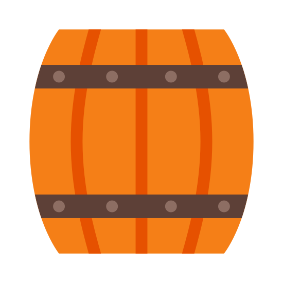"Drewniana beczka piwa icon. This is a icon of a ""wooden keg"". The keg is separated into four sections to look like wood planks, it also has two bands on it. One of the bands is at the top and the other is at the bottom of the keg, they are both thin compared to the planks."