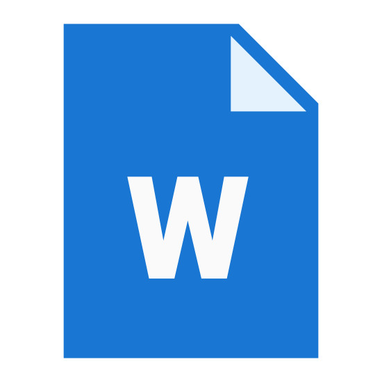 "Word icon. The icon is for a document that is stored as a file on a computer. The icon shows a sheet of paper with a folded corner with a handwritten ""W"" displayed. The icon is describes as a word file."