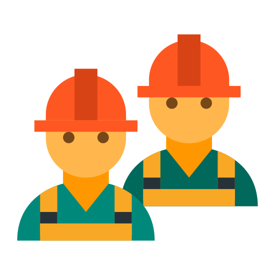 Workers icon. This is an image of two construction workers, one of them is overlapping the other. There are no physical features on these workers and each construction worker is wearing a safety helmet.