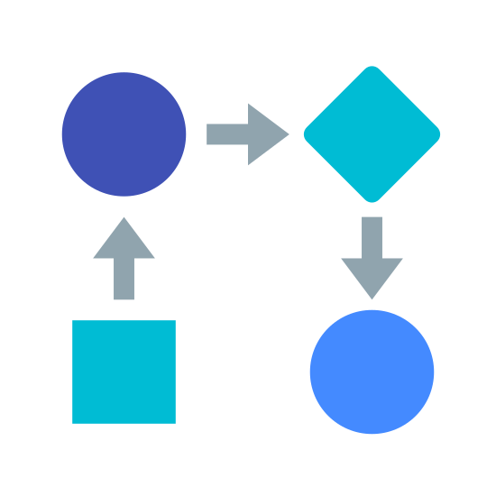 Flujo de trabajo icon. This icon represents workflow and takes the form of a flow chart. There is a square at the bottom left with an arrow pointing upwards to a circle. The circle points to the right to a diamond and the diamond points downward to another circle.