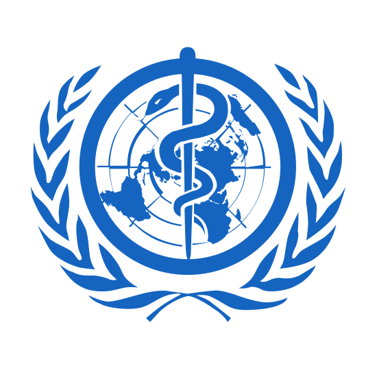 World Health Organization icon. This is an image of a globe shape with countries inside of it and latitude and longitude lines.  Superimposed on top of the globe is a staff with a snake curled around it.  Surrounding the globe are two olive branches, making the image look very much like the United Nations logo.