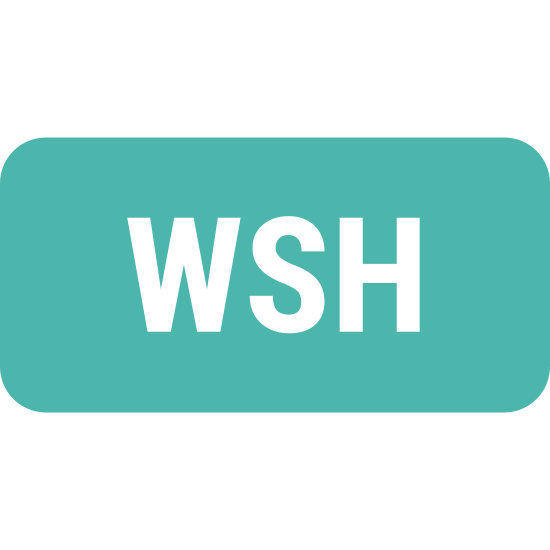 """WSH icon. This icon consists of a geometric square outlined in bold, positioned flat on one side. Within the center of the square is the acronym """"WSH"""" written in bold capital letters."""