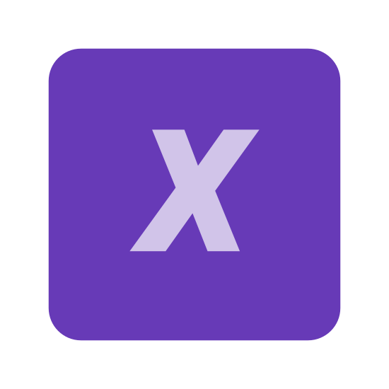X Coordinate icon. This is an X placed inside of a square. The square has round edges. The X is somewhat slanted, almost italicized.