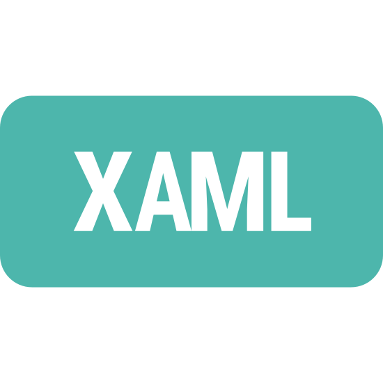 XAML icon. The icon is shaped like a square. At the center of the square are the letters X, A, M and L. All the letters are the same size and are all capitalized.