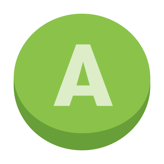 Xbox A icon. This icon is a circle drawn around an upper case a. The A is centered in the circle and takes up the majority of the space inside of the circle. The A is made of thicker lines than the circle is. The A is drawn in the normal way with the point facing up.