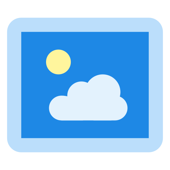 特大アイコン icon. This looks like an image icon on Microsoft Windows. There are 2 rectangles, one inside the other slightly smaller to create a picture frame look. Inside is a jagged line to represent a mountain range and a small circle above this line looks like the sun or moon.