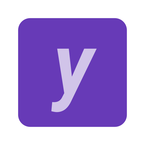 Y Coordinate icon. It's a small letter y by itself placed in the center of a square. The square has slightly rounded corners. There is only white space between the y and the square.