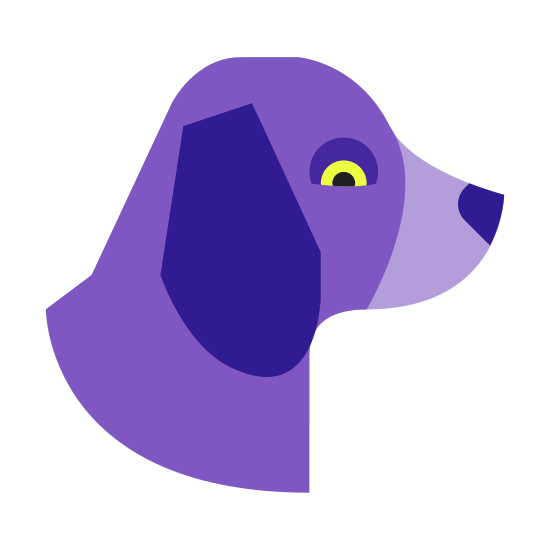 Year of Dog icon. This icon represents year of dog. It is of a dog's head with no body. The head is rounded on top with two pointed ears going down to the neck. The bottom is a long rounded mouth with a small nose. It includes one small round shape representing an eye.