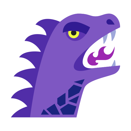 Year of Dragon icon. It's an image of a dragon. It's a sock puppet shaped figure with two wavy horizontal line as a neck, moving up to an oval shaped head. The mouth is V shaped with small lines representing teeth.