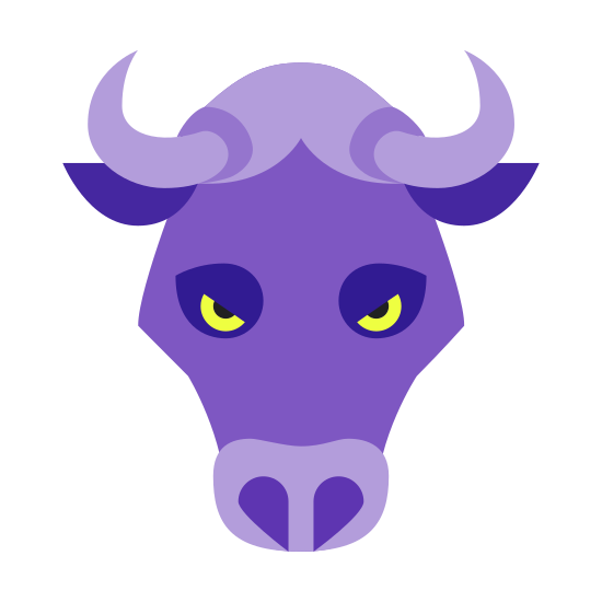 Year of Ox icon. This icon represents the head of an ox or could be seen as a cow or bull. It has two half ovals for eyes made to make him look angry. He has two curved horns that are both pointed at the end with two ears below them