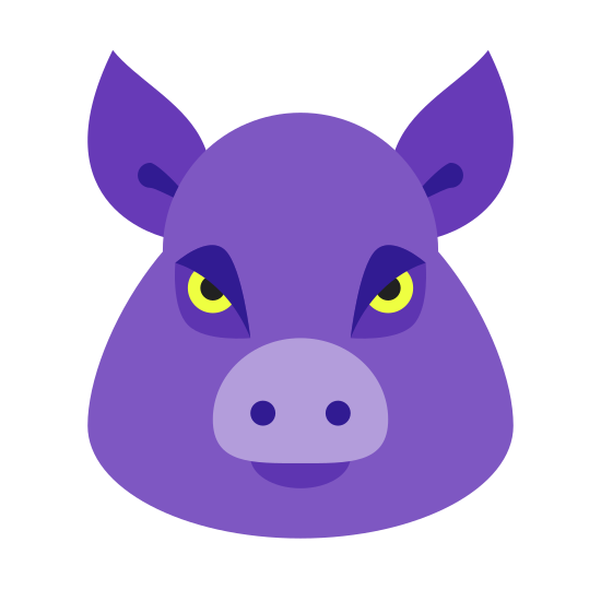 Swine icon. It is a simple drawing of a pig's head The eyes are mere dots, while the nose is mostly a circle with two dots in it. The head is rather pear shaped with wide jowls on the bottom half. Both ears are shown, in the raised erect position.