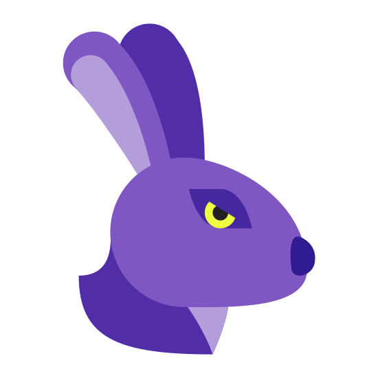 Year of Rabbit icon. This particular icon features an outlined image that resembles the head of a rabbit.  It has two long cone shapes at the top that resemble ears.  It also has a black dot in the middle of the shape that looks like an eye.