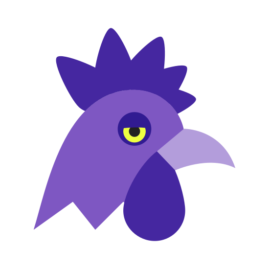 Rok Koguta icon. It's a logo for the year of the rooster and shows the head of a rooster. The head is facing to the right and has zig-zagged lines for the feathers. The beak is open slightly and it only has one eye showing.