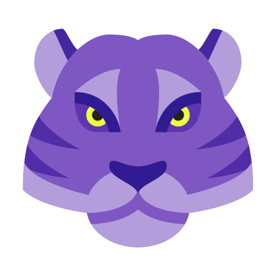 Year of Tiger icon. It's an icon of a tiger head. The head is mountain shaped with rounded ears at the top corners. In the center is a oblong oval representing the face. And horizontal lines representing tiger stripes.