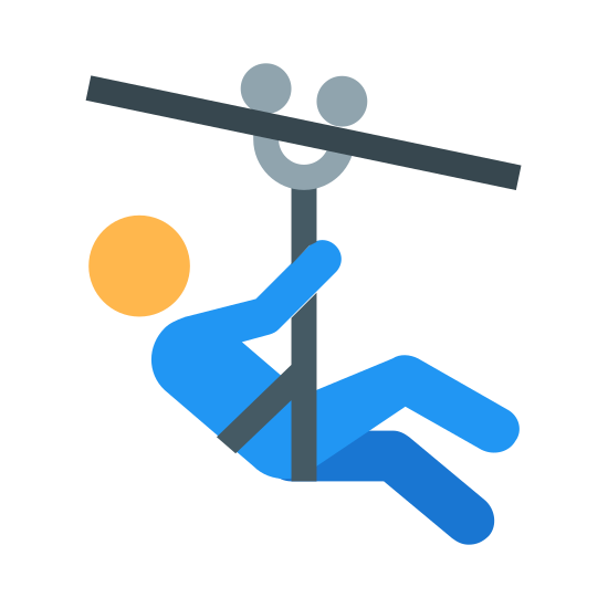 Zipline icon. This icon depicts ziplining. There is a diagonal line on the top for the line and a person connected by a Y shaped line underneath.