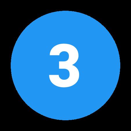 Circled 3 C icon