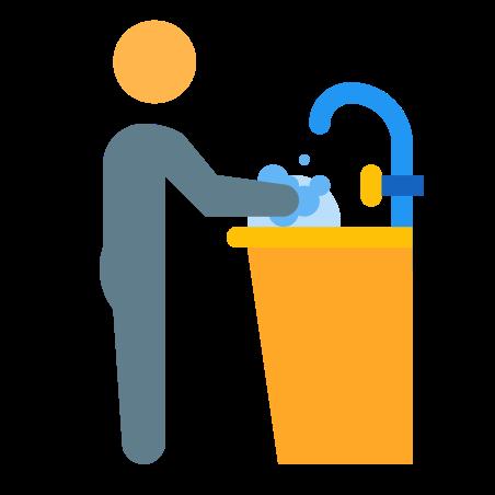 Human washing dishes icon