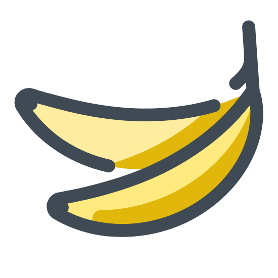 Banana icon. This is a drawing of a single banana. From the stem, the banana is sloping down to the left, and there is a line down the center of the drawing that extends from the lower tip to just below the stem.