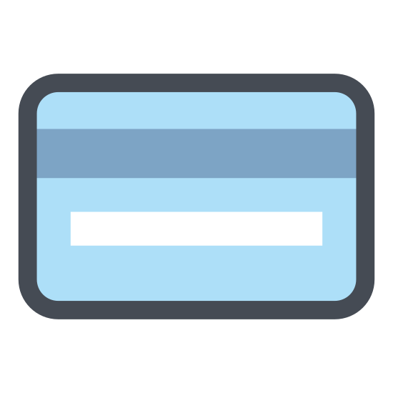 Credit Card icon. It's a small rectangle with rounded edges. There is a black bar that crosses the entire rectangle a centimeter from the top edge. There is a smaller line underneath the bar that is set slightly in from the left hand side and ends at the middle of the rectangle.