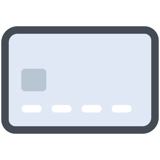Debit Card icon. This icon is an outline of a rectangle with curved edges showing a bank card. Inside of the rectangle on the top left side is a smaller rectangle in the corner where a photo would be as an ID. There are lines next to and under the small rectangle to indicate information written, like a name.