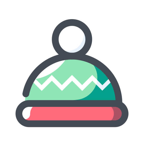Czapka zimowa icon. The icon is a picture of the logo for Beanie. The icon honestly looks a lot like Santa's hat. The icon is basically an outdoor snow cap facing upwright, with a tiny ball on the end like a bunnies tail.