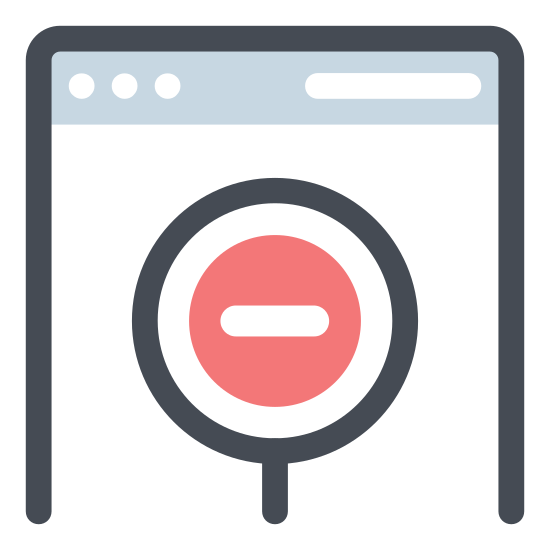 No Access icon. The icon shows a rectangle with a horizontal line through at the top. Inside the box under the line, there is a circle with a diagonal line inside it going from the top-right of the circle to the bottom-left.