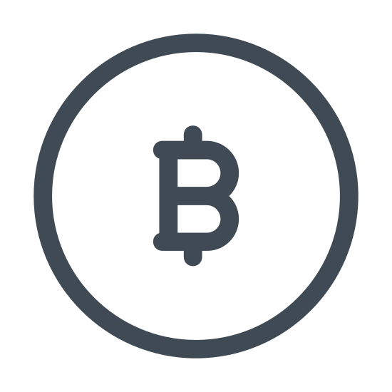 Bitcoin icon. There is a circle with the letter B inside of it. The letter B has four tiny rectangles (all equal size), two on top of it and two on the bottom of it. By having these rectangles attached to the letter B, the letter appears to look like the US dollar sign - - $.