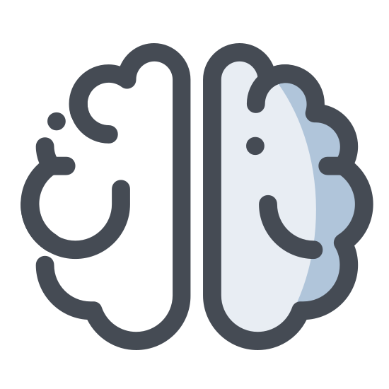 Mózg icon. The brain is a important part of the human body that consists of four detailed parts called hemispheres. The brain is spongy, and meaty in appearance, and is very complex.