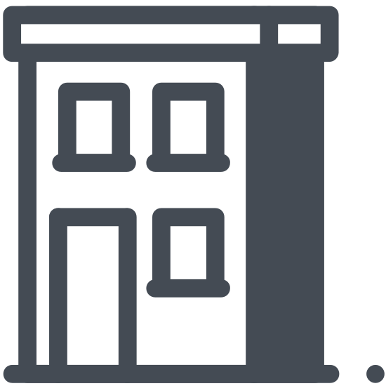 "Budynek icon. This icon for ""building"" is depicted as a rectangle, with a larger height than width. On the left side of the rectangle are 4 smaller rectangles placed on top of each other which represent windows. On the right side are 3 windows, and on the bottom right is a larger rectangle representing a door."