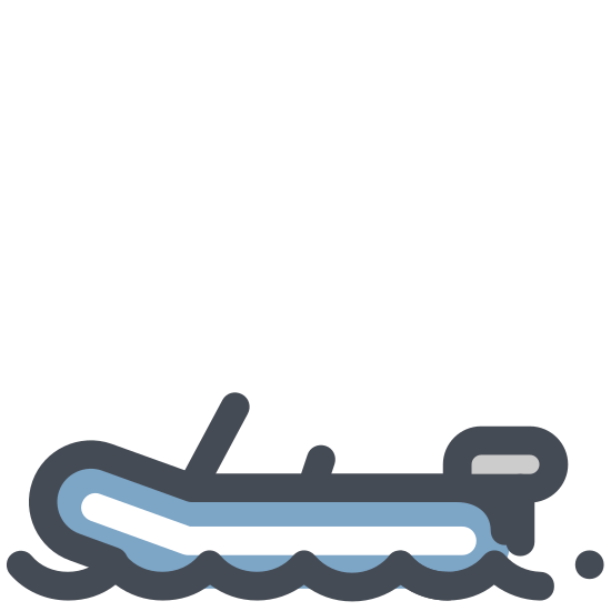 Boating icon. This icon depicts a boat floating in water. The purpose of the boat in water is to let the onlooker know that this area is for bumper boats.