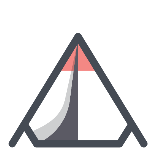 Camping Tent icon. This is a simple triangle tent. It looks like a sheet draped over a clothesline, with a door at the front. It is triangular in shape, with a triangular door. It is rather small and looks as if it's placed on flat ground or terrain.