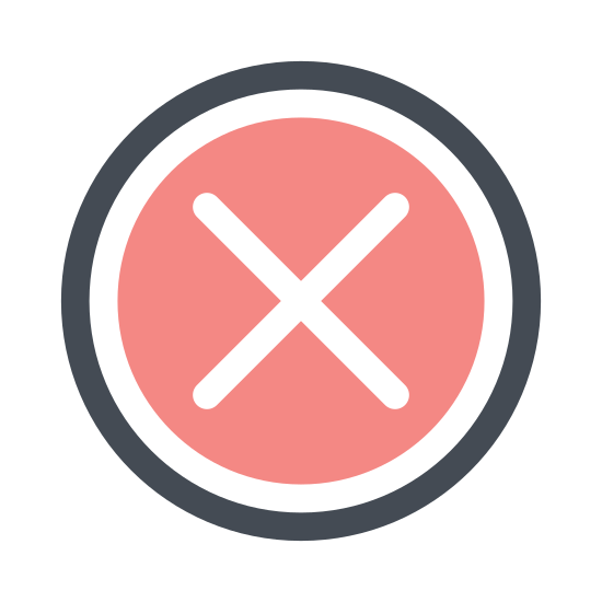 Anuluj icon. The icon is a common symbol for expressing denial of permission. It consists of a circle with a large X in the center of it, symbolizing the cancellation of an already-running action.