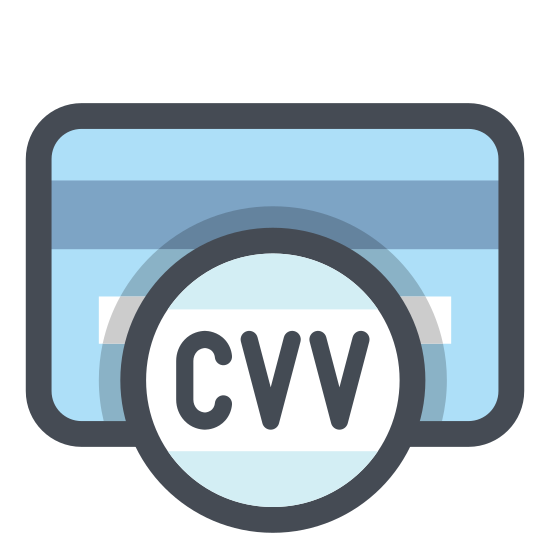 Card Verification Value icon. The icon is shaped like a rectangle with curved corners and towards the top is a shaded rectangular strip that runs left to right. There is a circle at the center of the rectangle with the letters CVV in it with horizontal lines at the top and bottom of the letters. The circle overlaps the rectangle a bit and sticks out slightly at the bottom.