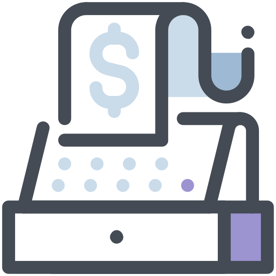 Kasa fiskalna icon. The image depicts a cash register with a drawer that is closed and no numerical value being displayed on the register sign. There is a receipt with writing being printed from the register.