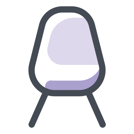 Chair icon. A front profile view of a chair. Two front legs are visible. The back support gets wider from bottom up, with a rounded top. The seat is completely flat. The image looks like a representation of a typical kitchen chair.