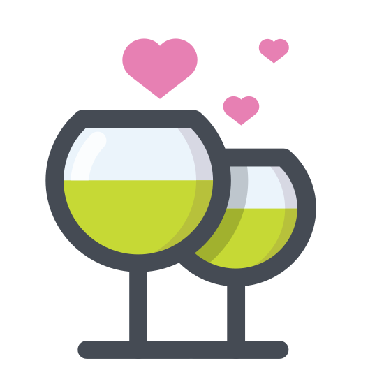 "Champagne icon. There are two wine glasses that appear to be half full and there is a line coming out of the top to depict clinking of the glasses as when people ""cheers"" or ""salud"" each other."