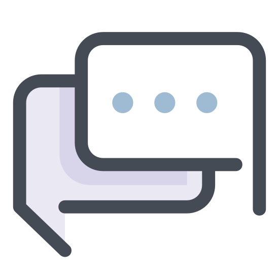 Czat icon. It is an image of two overlapping speech bubbles. The one in the foreground has a tail pointing to the left. The one in the background has polka dots in the bubble and a tail pointing to the right.