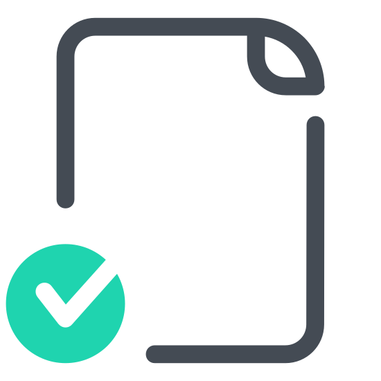 Check File icon. The icon looks like a vertically oriented rectangle. however, the right corner has been folded in to form a right triangle within the rectangle. the right and bottom sides are also missing segments. instead, a checkmark shape is present in this spot