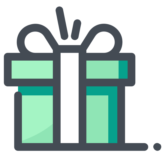 Christmas Gift icon. It is a square gift icon. There are two horizontal lines and two vertical lines across the respective middle representing a bow. On top, in the middle, there is a small square, representing a knot, and two curves, on the left and the right on this knot, representing the curves of the bow on the gift.