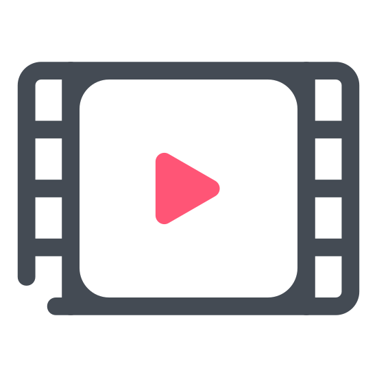 """Film icon. This is a black and white outline of a film strip, with the holes on each side of the film. In the center is a triangular """"play"""" button pointing to the right."""