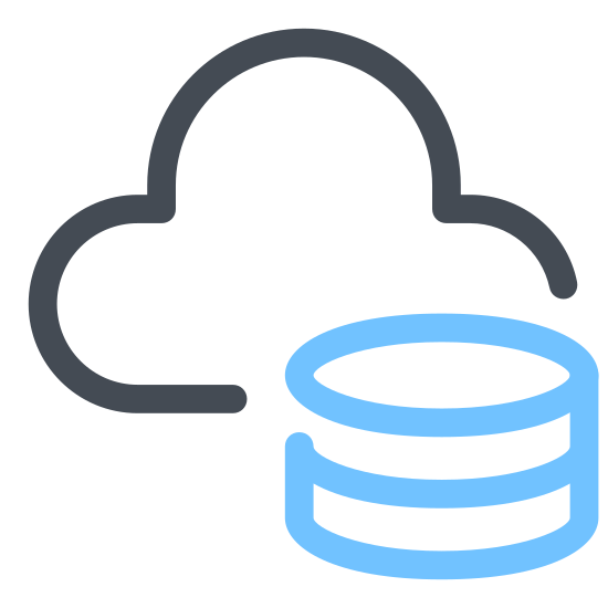 Cloud Storage icon. This icon is a rectangular shape meant to represent an external hard drive. There is a little circle in the front right corner that represents the power light, and there is a small cloud shape hovering just above the back of the hard drive.