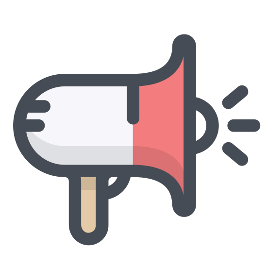 Commercial icon. This is a megaphone. There is a handle on the megaphone on the left hand side and a large cone or funnel shape on the right hand side. There is a small half circle protruding from the flat part of the cone of the megaphone.