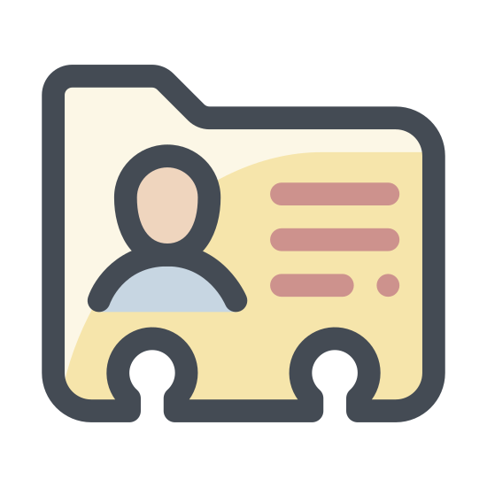 Karta Kontaktu icon. This icon represents a contact card. The shape of the card is rectangle with notches at the bottom and a tab on the left hand side. The card has a picture of a human head on the left side and lines for information on the right side.