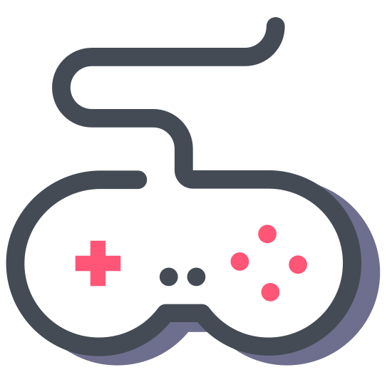 Game Controller icon. A controller icon is a U shaped object because the top and bottom of the controller forms a U hand has with a wire attached. Inside the shape there are usually 4 buttons on the right side and on the other side there is a plus sign, but the plus sign is also another 4 different buttons.