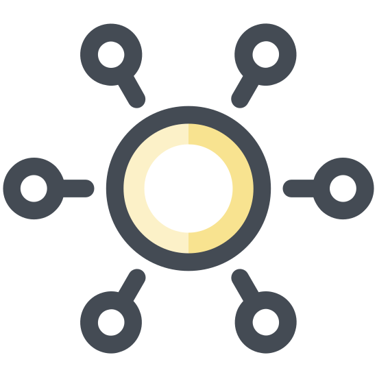Crowdfunding icon. It is a large circle with a dollar sign in the middle.  There are five smaller circles surrounding it from all sides.  They are connected to the large circle with short lines shower that the small funders are pooling together.