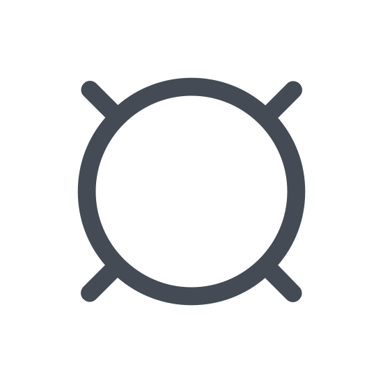 Currency icon. The currency icon is a circle with four equal length lines coming out of it at diagonals. It is fairly plain, and used to generically define the following number as currency.